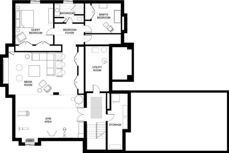 contemporary floor plan for basement house ideas pinterest