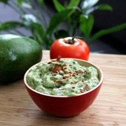 Creamy guacamole dip with kale for an extra nutrition boost.