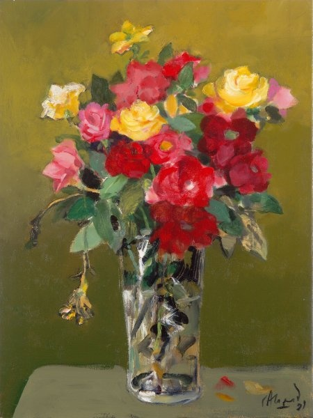 "Carlos Alonso, ""Flores"" óleo 60 x 50 cm."