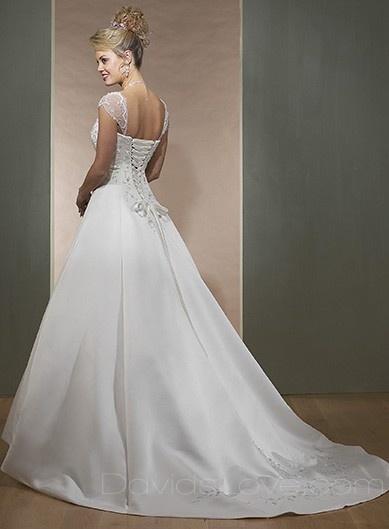 A-Line Sweetheart Long Satin Wedding Dress