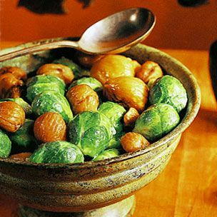 Brussels Sprouts with Chestnuts. Perfect with roast turkey or duck.