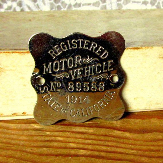 Antique 1914 California Vehicle Registration License Plate