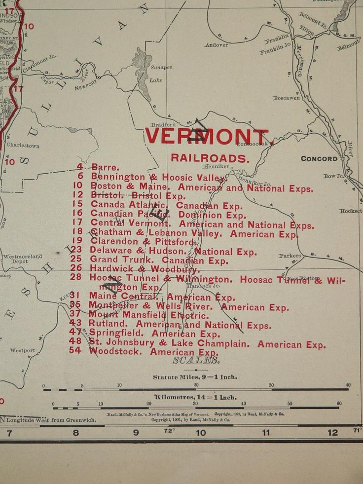 Vermont State Antique 1901 Railroad Map