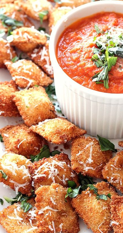 Fried Ravioli with Cheesy Marinara Dipping Sauce....