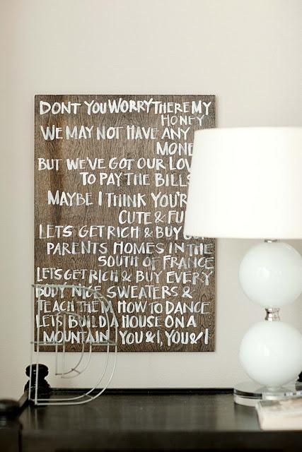 diy wall art using lyrics for bedroom she 39 s crafty pinterest