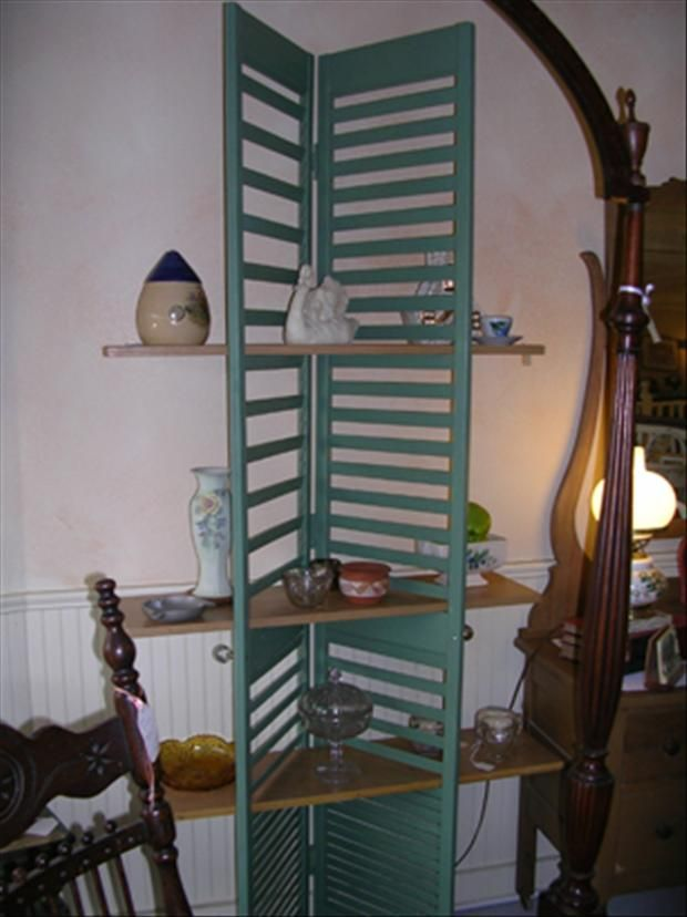 Creative use for old window shutters jewelry display for Window shutter crafts