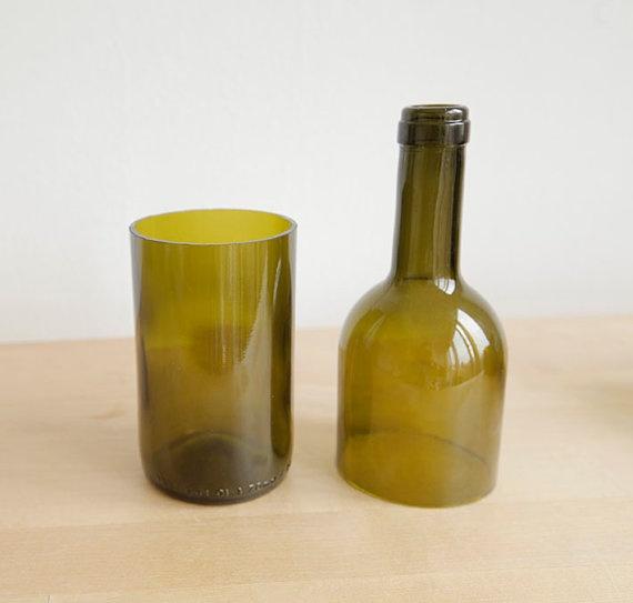 4 recycled green wine bottle glasses for Green wine bottles