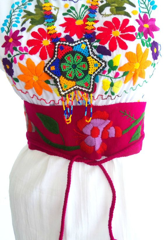 Citlallin stunning handmade mexican embroidered belt