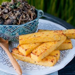 ... food. Herbed Polenta Fries with Mushroom & Artichoke Fricassée