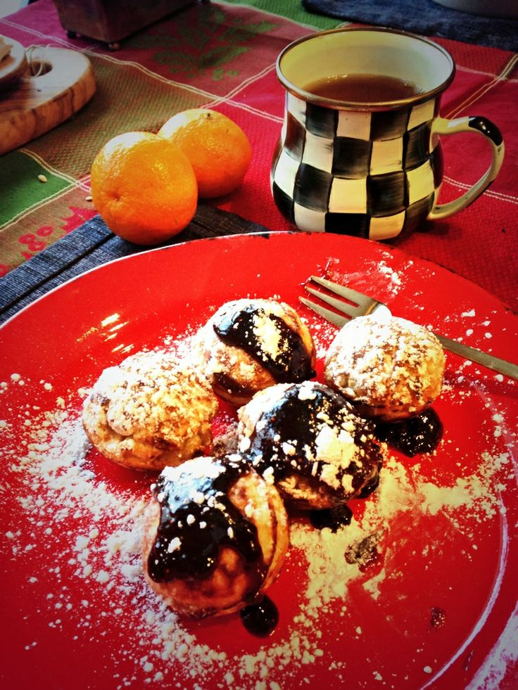 Æbleskiver Ginger Apple Cinnamon Pancakes drizzled with Fig Walnut ...
