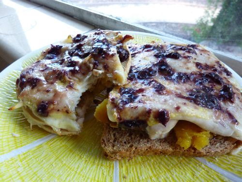 Grilled chicken, roasted squash, and havarti sandwich with blueberry ...