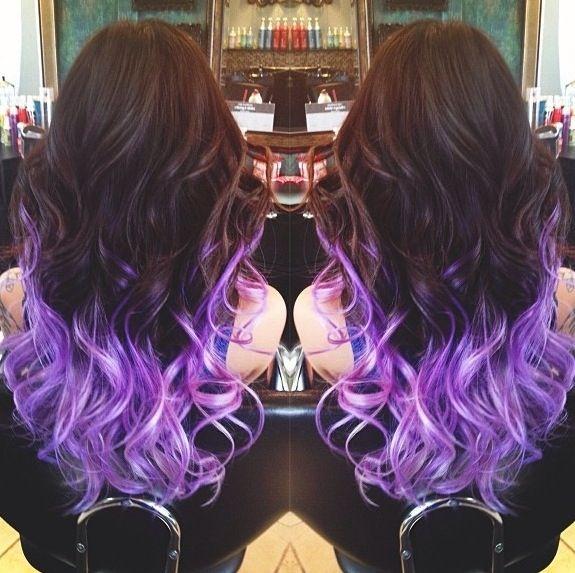 Как сделать фиолетовое омбре на темные волосы