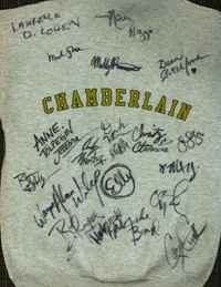 """BID NOW: Chamberlain HS sweatshirt used in rehearsal and signed by the cast and creative team of """"Carrie""""."""