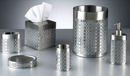 Basketweave silver bathroom accessories silver gray for Grey silver bathroom accessories