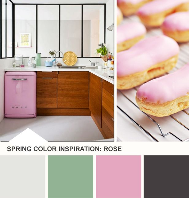 Tuesday Huesday: Rose and Mint Kitchen Inspiration (http://blog.hgtv.com/design/2014/03/25/tuesday-huesday-rose-mint-color-palette/?soc=pinterest)