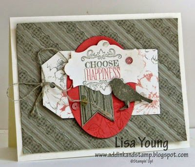 Lisa's collage card featuring Choose Happiness, Stylish Stripes embossing folder, Angled Tag Topper Punch, and more. All supplies from Stampin' Up!