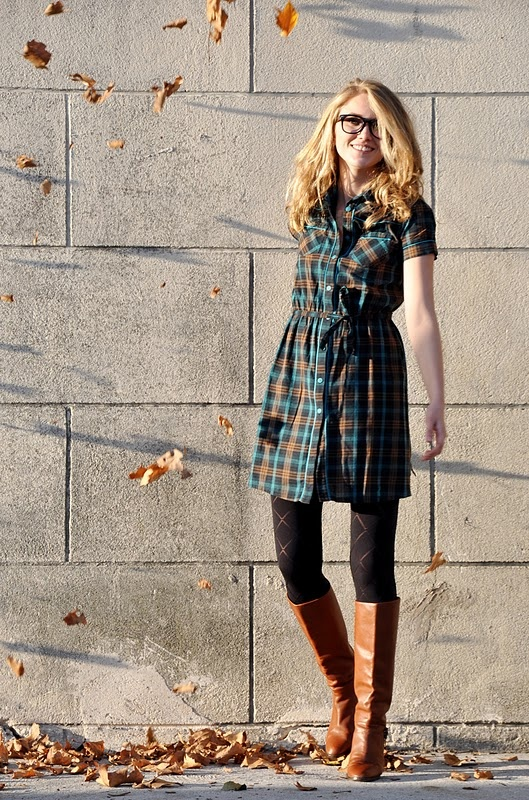 Fall outfit: Plaid Tunic Dress + Black Patterned Tights + Brown Boots