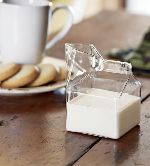Milk glass shaped like a milk carton!http://www.dairygoodness.ca/getenough/milk-products-facts-and-fallacies