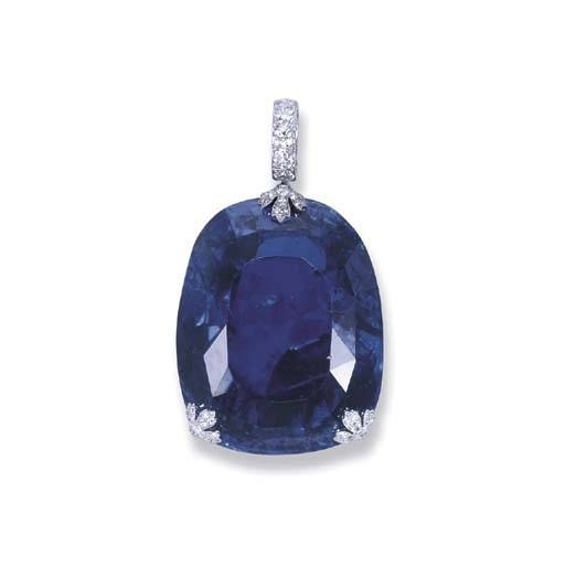Queen Marie of Romania sapphire pendant. This sapphire, one of the prize pieces in Cartier's collections, is a cushion shaped gem weighing 478 carats.  The sapphire was purchased by King Ferdinand of Romania in 1921