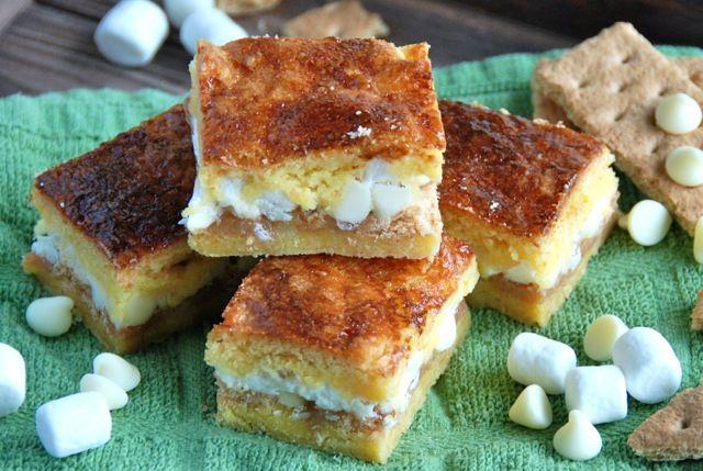 White Chocolate S'mores Gooey Cake Bars | Food!!! | Pinterest
