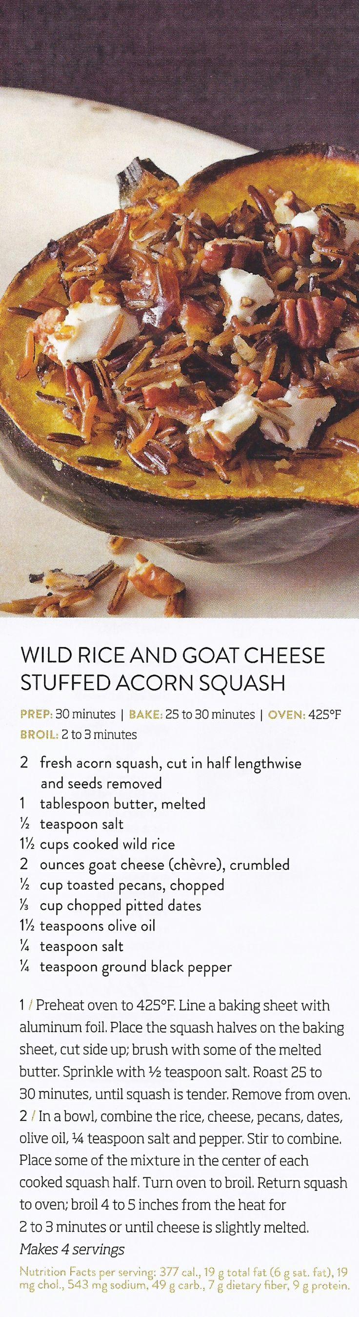 Wild Rice and Goat Cheese Stuffed Acorn Squash