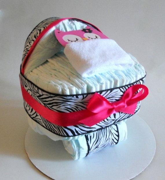 Owl and Zebra Diaper Cake for Owl Baby by SprinklesPaperieCo, $35.00