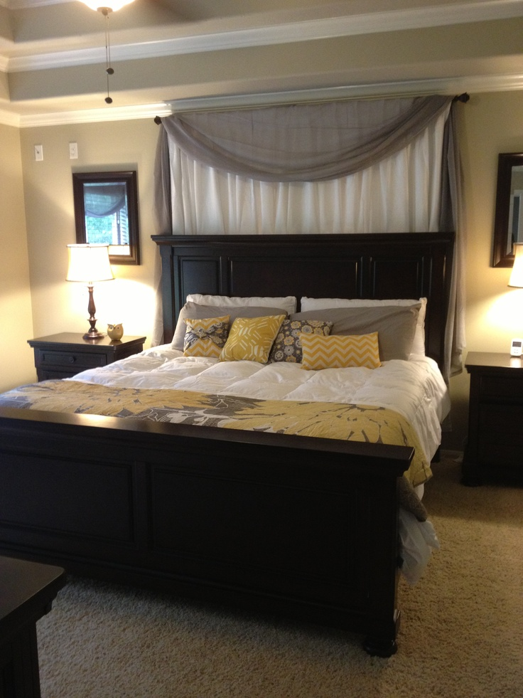 Curtains over bed white grey yellow master bedroom ideas i hav Master bedroom art above bed