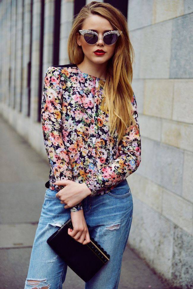 Flower print shirt and blue jeans