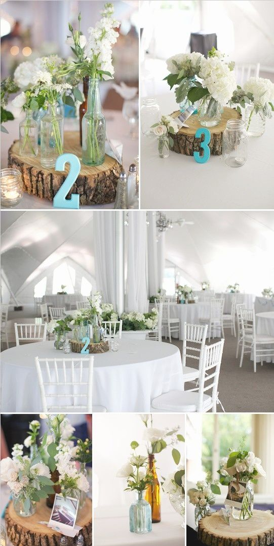 Wood slice centerpiece vintage wedding pinterest