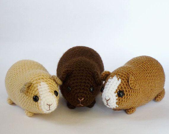 Crochet Amigurumi Guinea Pig : Crocheted chubby guinea pig (made to order)