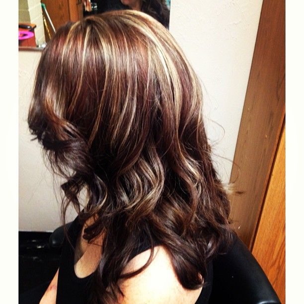 Red and blonde highlights with dark all over