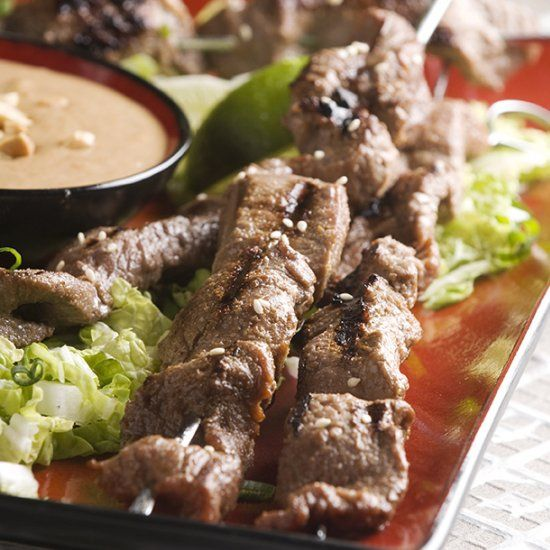 ... and grilled beef skewers with a sweet and spicy peanut sauce