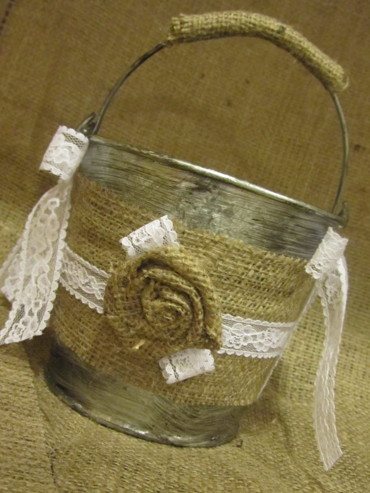 How To Make A Lace Flower Girl Basket : Burlap and lace flower girl basket bucket