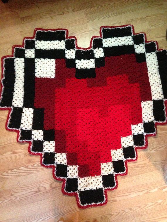 Large Zelda Heart Piece Inspired 8-bit Blanket / Rug by CraftsALotExpress       ♪ ♪ ... #inspiration #crochet  #knit #diy GB  http://www.pinterest.com/gigibrazil/boards/