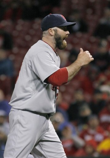 April 10, 2011 - Jason Motte gets the save as the Cardinals defeat the Reds 3-1.