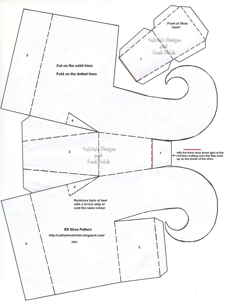 elf shoe template | card shoes | Pinterest