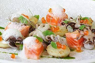 Baby octopus, salmon, potatoes and oatmeal foam