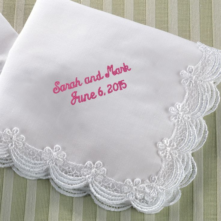embroidered scalloped lace wedding handkerchief for