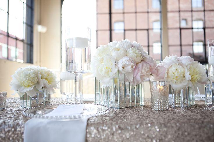 Modern wedding inspiration white peony centerpieces how