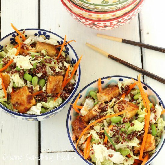 Sesame Tofu Chopped Salad with Red Quinoa is a power meal in a bowl.