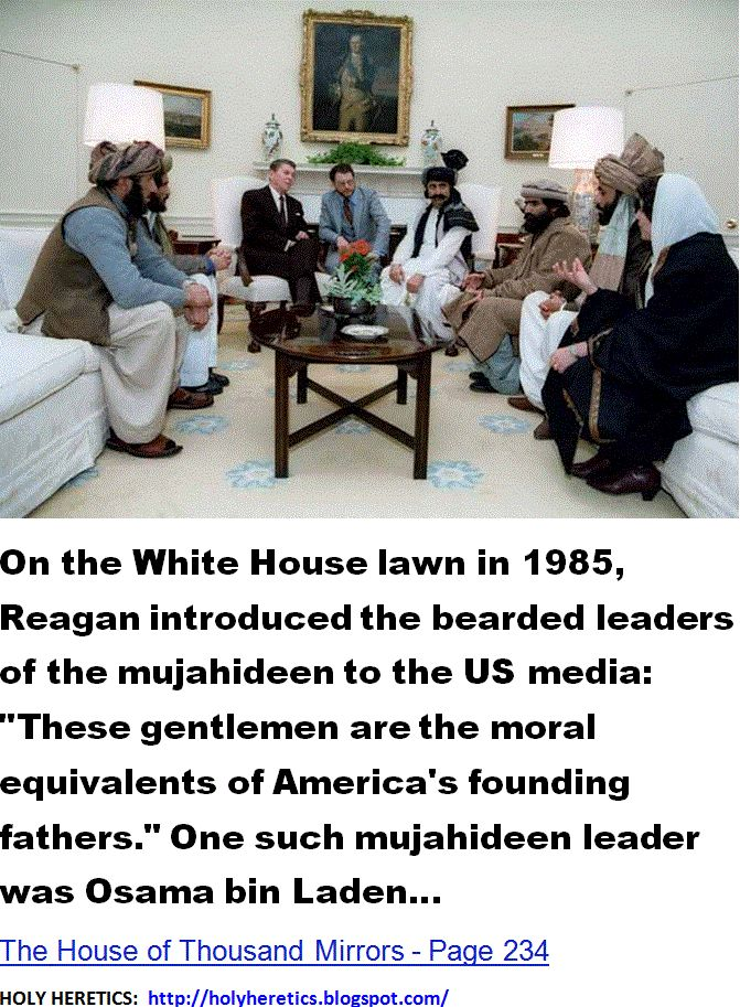 On the White House lawn in 1985, Reagan introduced the bearded leaders of the mujahideen to the US media- These gentlemen are the moral equivalents of America's founding fathers.-3.GIF