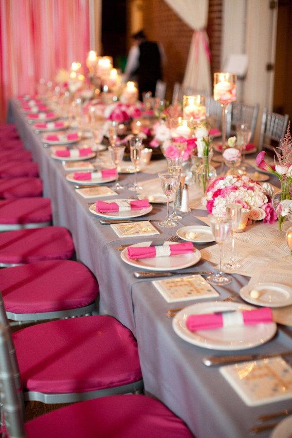Wedding Ideas Bright Pink And Gray Wedding