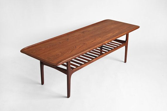 Vintage Teak Surfboard Coffee Table Mid Century Modern Danish Re