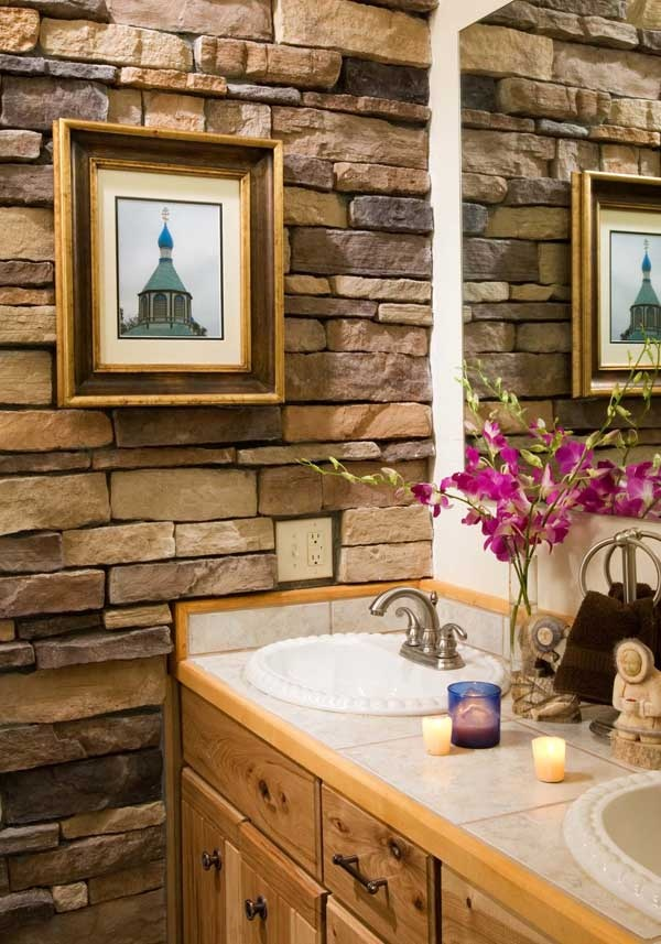 Love stacked stone bathrooms pinterest for Stacked stone bathroom ideas