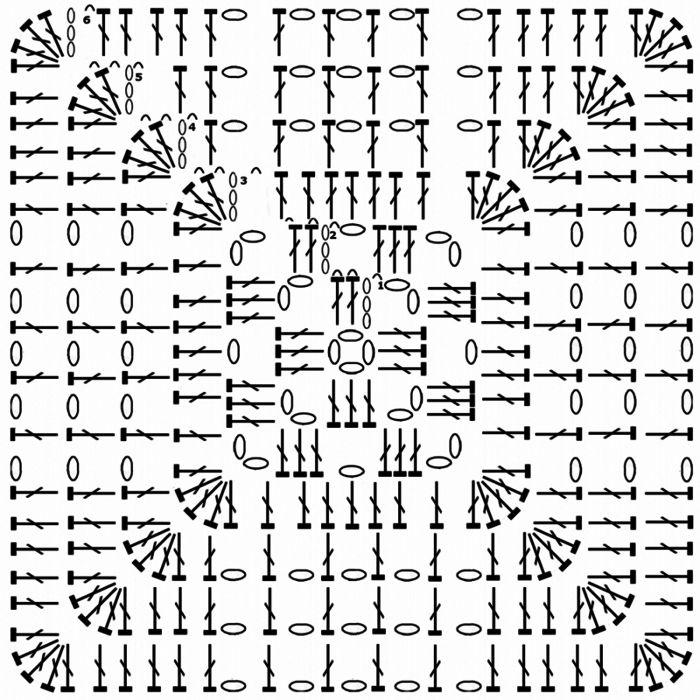 Вязание крючком квадраты красивые схемы 83