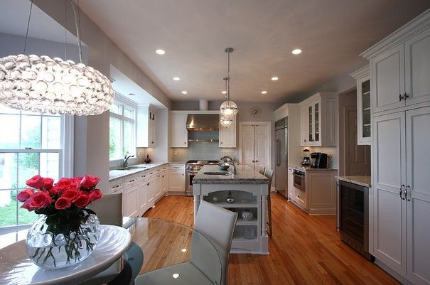 kitchen with recessed lighting  kitchen/ dining room  Pinterest