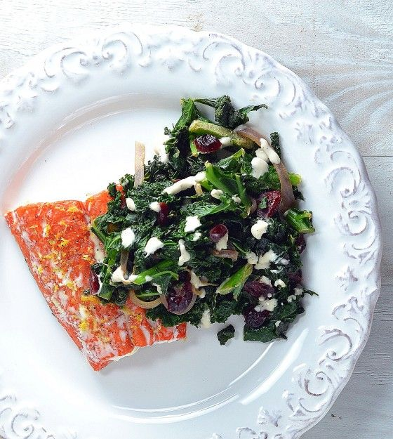 Roasted Salmon with Kale, Tahini and Cranberries
