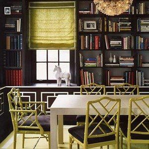 combo DR/ Library  love the Chippendale chairs in chartreuse