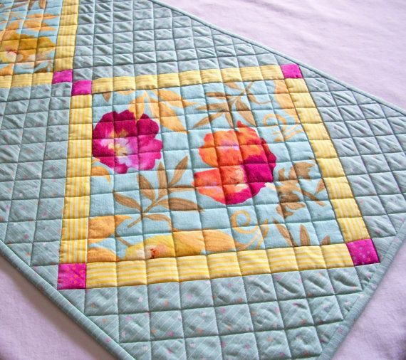 runner Flowers  Quilted $62.00 Runner by Table Poppies table aqua atthebrightspot, Aqua