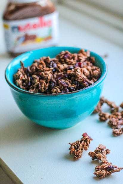 Chocolate Cherry Nutella Granola. Crunchy Granola With Tart Cherries ...